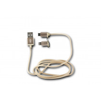 KSIX METAL SYNC & CHARGE CABLE 2IN1 USB-MICRO USB WITH LIGHTNING ADAPTER METALLIC GOLD
