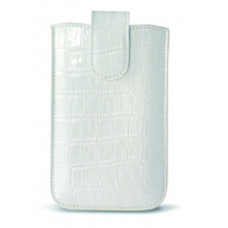 KSIX CROCO UNIVERSAL LEATHER POUCH FOR SMARTPHONE L (116 X 62 X 12 MM) WHITE